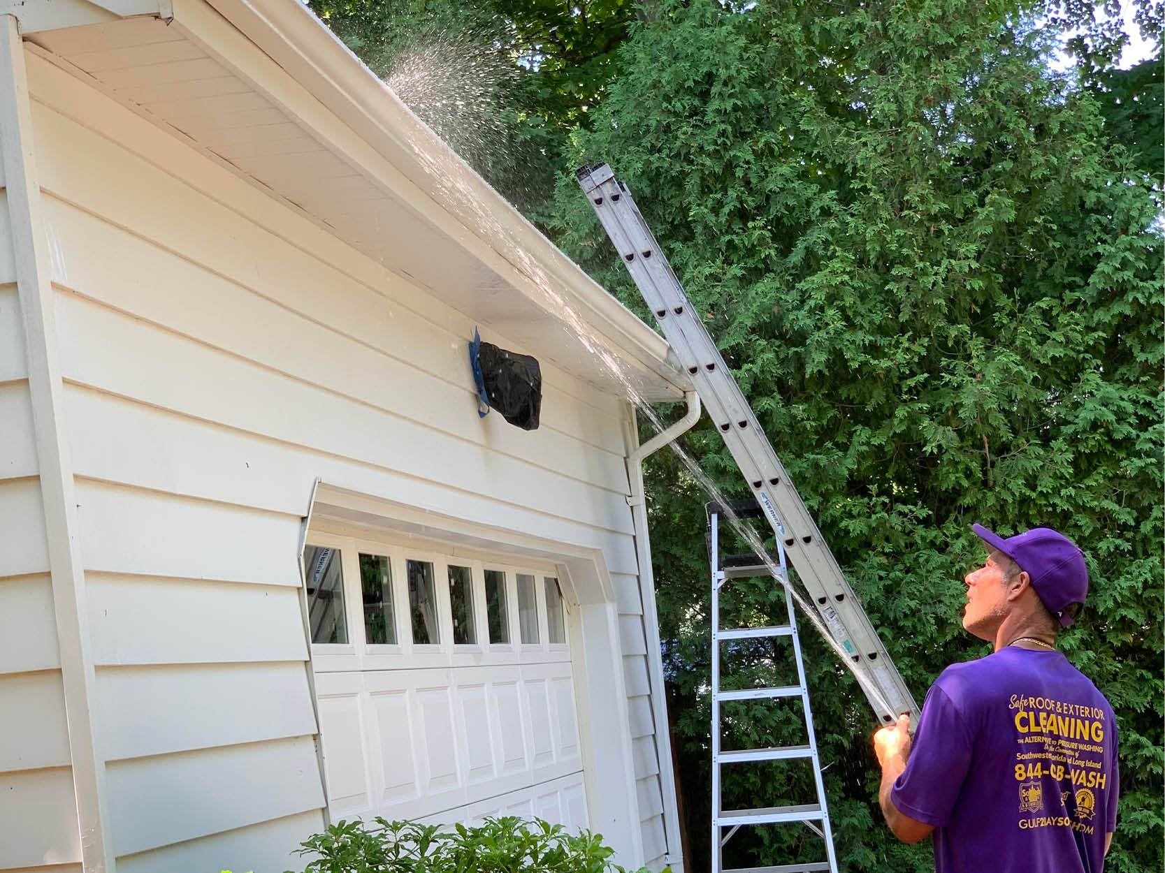 Gutter Clean with Soft Pressure Washer